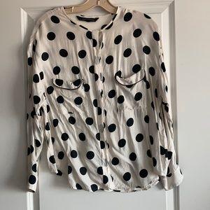 3/$15 Zara | polka dot white and black work blouse